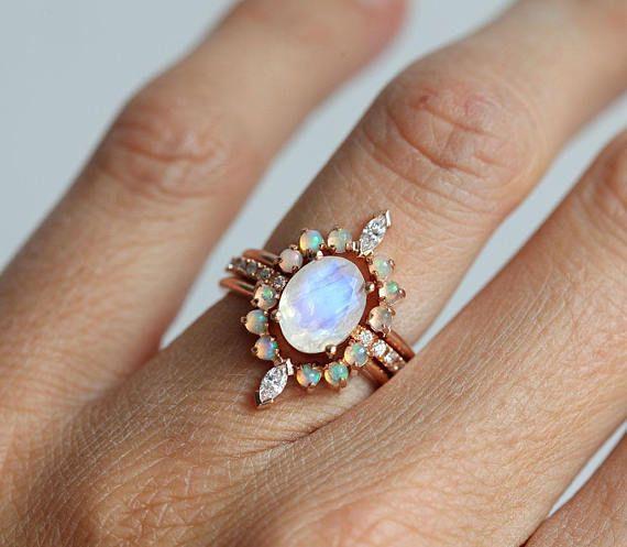 Dream Ring Set Moonstone Ring Opal Ring Wedding Rings Opal
