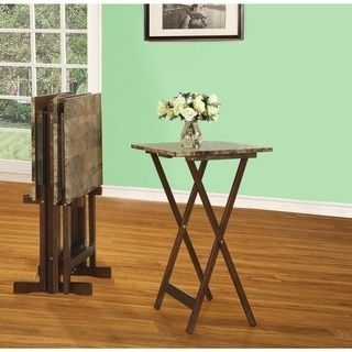Linon Home Decor Tray Table Set Faux Marble Brown Linon Bachelor  Rectangular Snack Trays With Stand