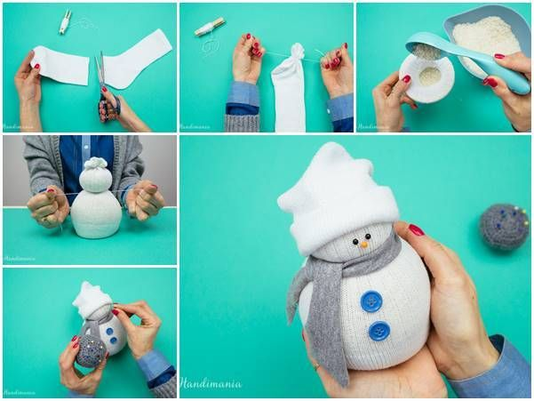 Creative ideas diy easy no sew sock snowman sock for How to make snowman with paper