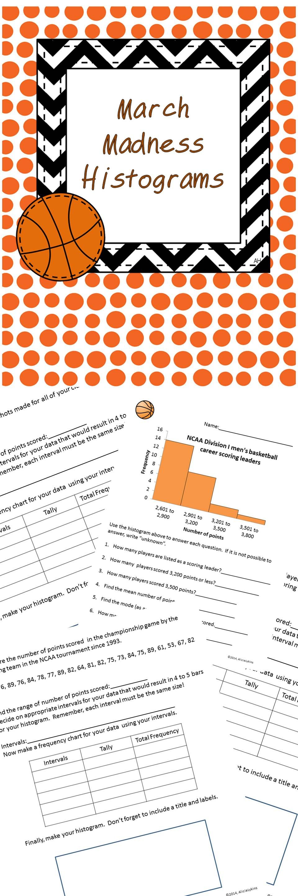 March Madness Basketball Histograms Math For Sixth Grade