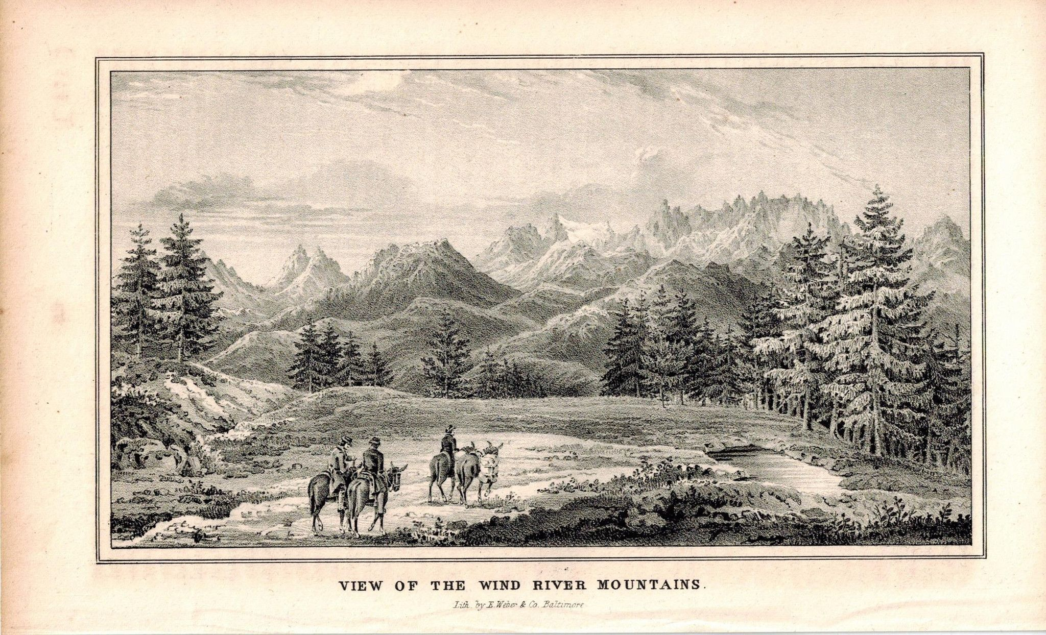 View Of The Wind River Mountains 1845 Antique Litho Print by E. Weber & Balt Co