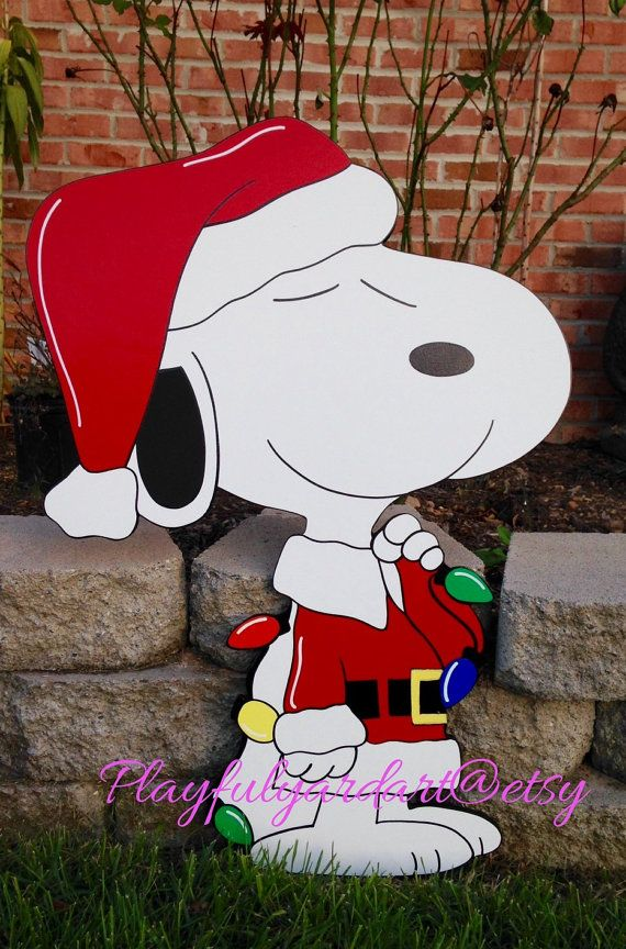 hellowelcome to my store peanuts charlie brown snoopy christmas yard art decoration every piece i make is made on exterior grade 12 inch mdo wood