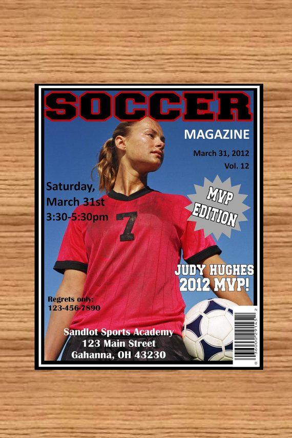 Soccer Magazine cover birthday invite or any sport ...DIY you print ...
