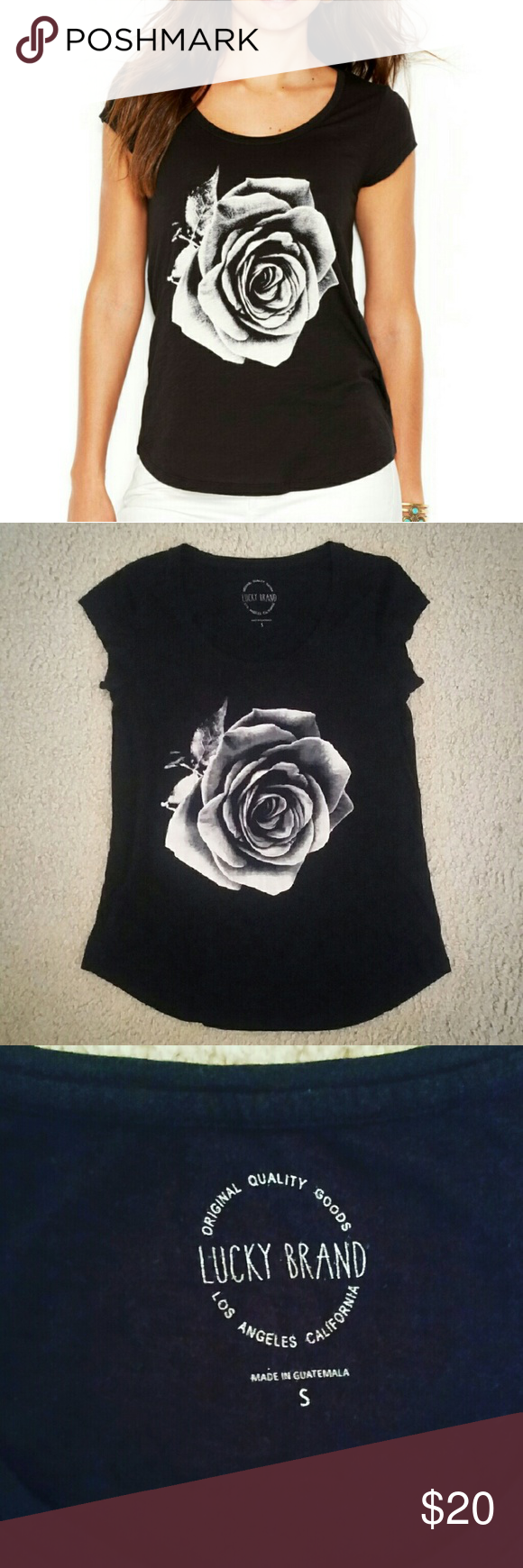 Lucky Brand - Rose Tshirt Authentic. Excellent used condition. Super cute and comfortable. Black tshirt with white/grey rose design. Runs a little big but I think it's supposed to be a loose fit. Lucky Brand Tops Tees - Short Sleeve