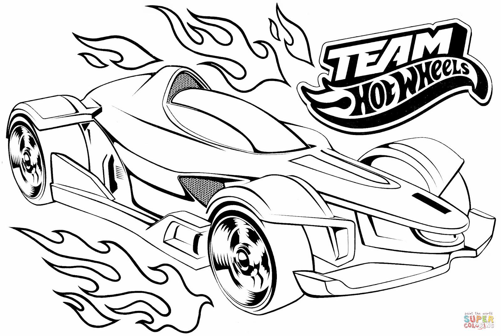 Desenho De Team Hot Wheels Para Colorir