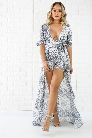 Short Sleeve Long Tail Romper Fashion Dresses Victoria