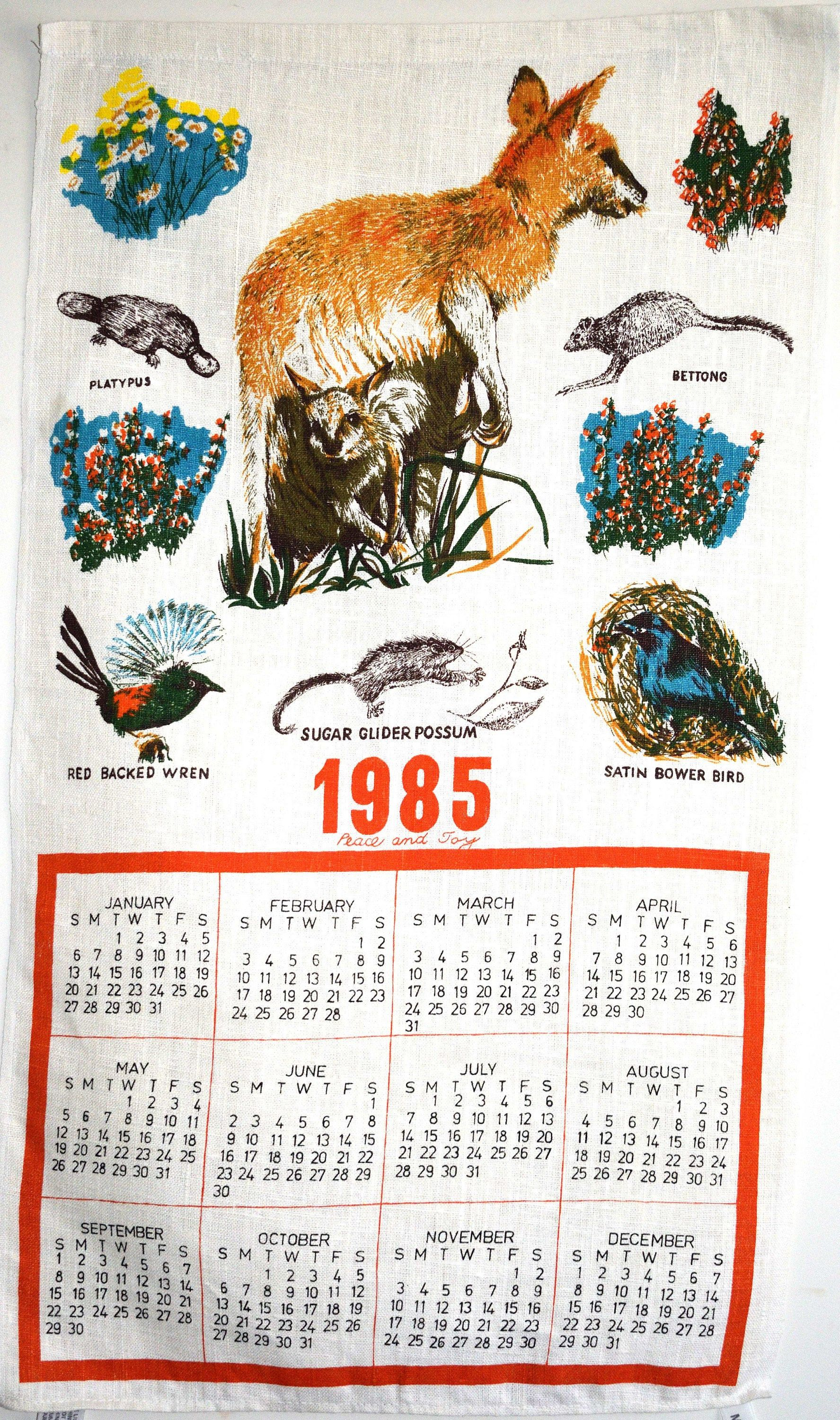 Australian Birds Animals 1985 Calendar Tea Towel Vintage Retro