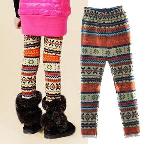 Baby Kids Girls Winter Fleece Bottoms Leggings Warm Thick Lined Pants Trousers