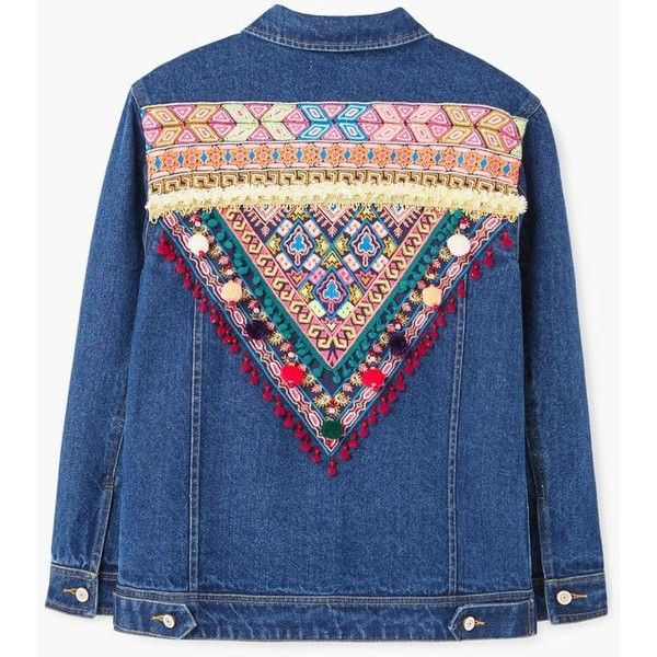 Embroidered Denim Jacket (€22) ❤ liked on Polyvore featuring outerwear, jackets, embellished jacket, mango jackets, embroidered denim jackets, embroidered jacket and embroidered jean jacket