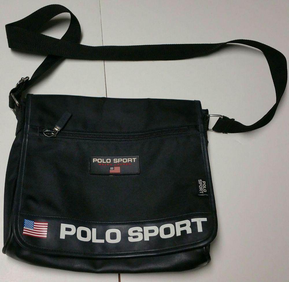Vintage 90s Polo Sport Ralph Lauren Messenger Side Shoulder Bag Sack strap  Black  PoloSport  MessengerShoulderBag f1b165cf8a20f