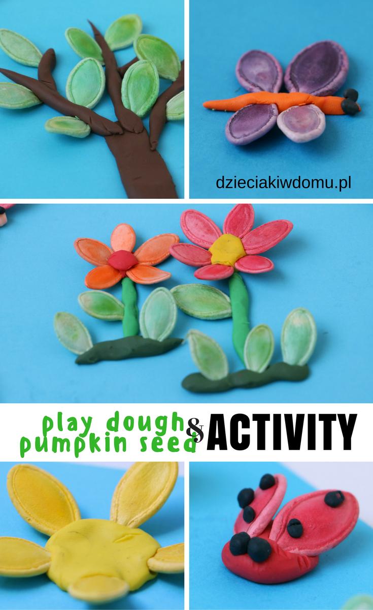 Pomysl Na Zabawe Plastelina I Pestkami Dyni Dzieciaki W Domu Playdough Activities Food Coloring Crafts Crafts For Kids