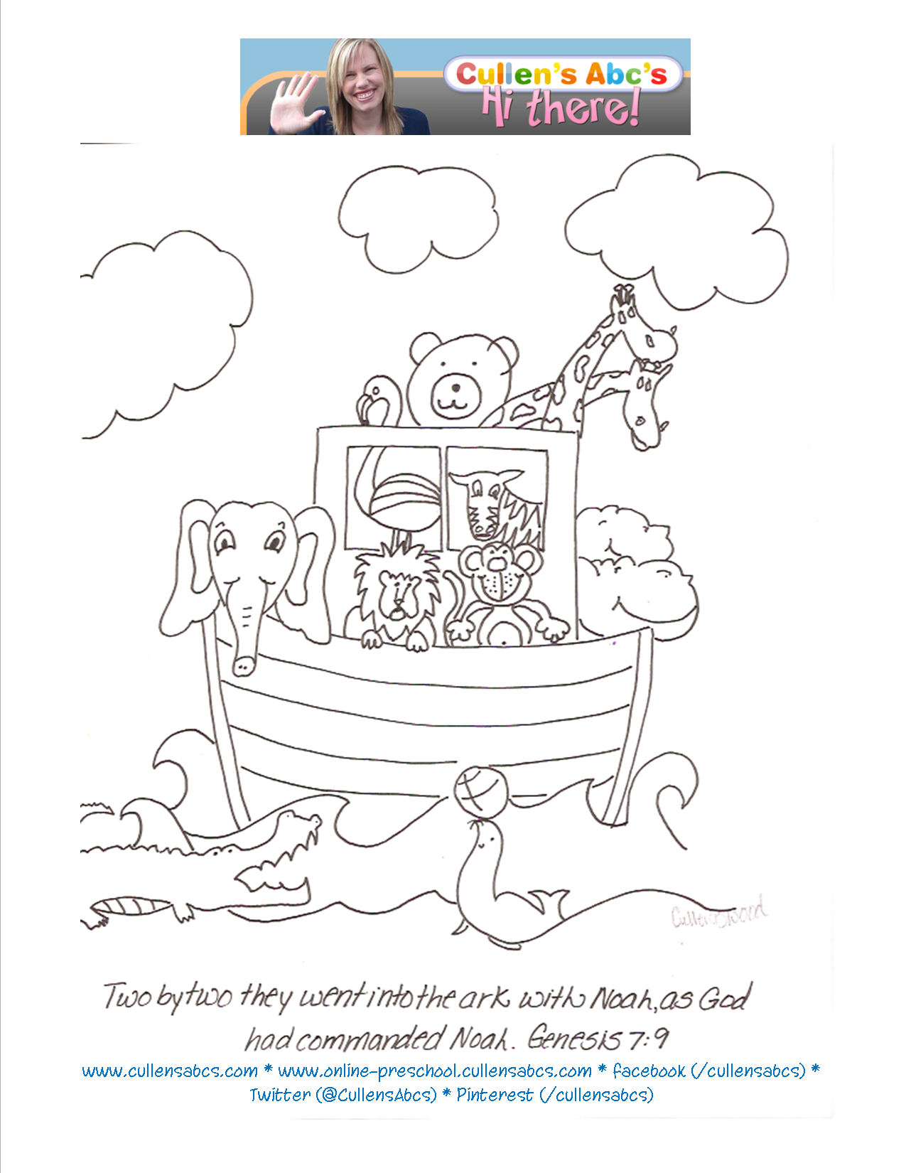 Noahs Ark Coloring Sheet You Can Have Children Color This Page And Start To Memorize The Bible Verse When Used Discuss Story With Child While