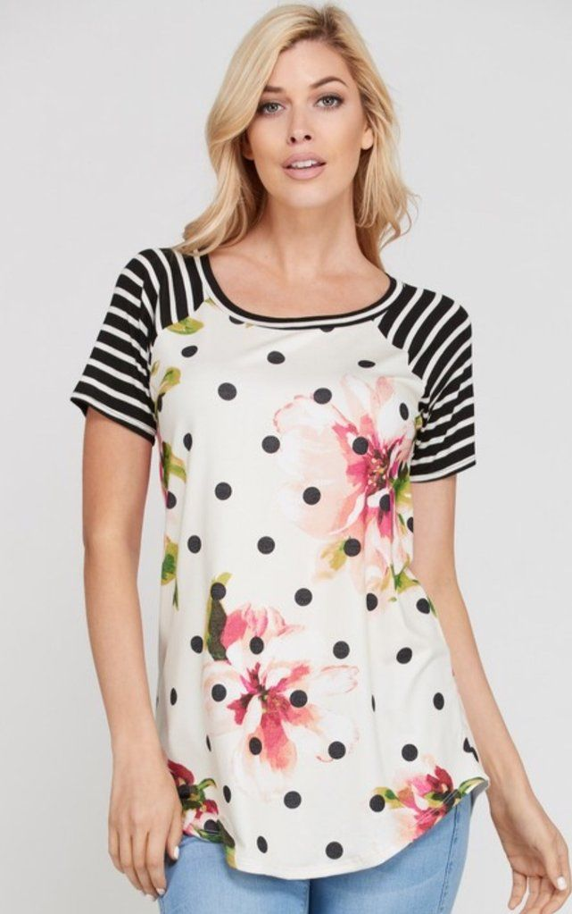 Plus Size Top Polka Dot, Stripe and Floral with Scoop Shaped Hemline