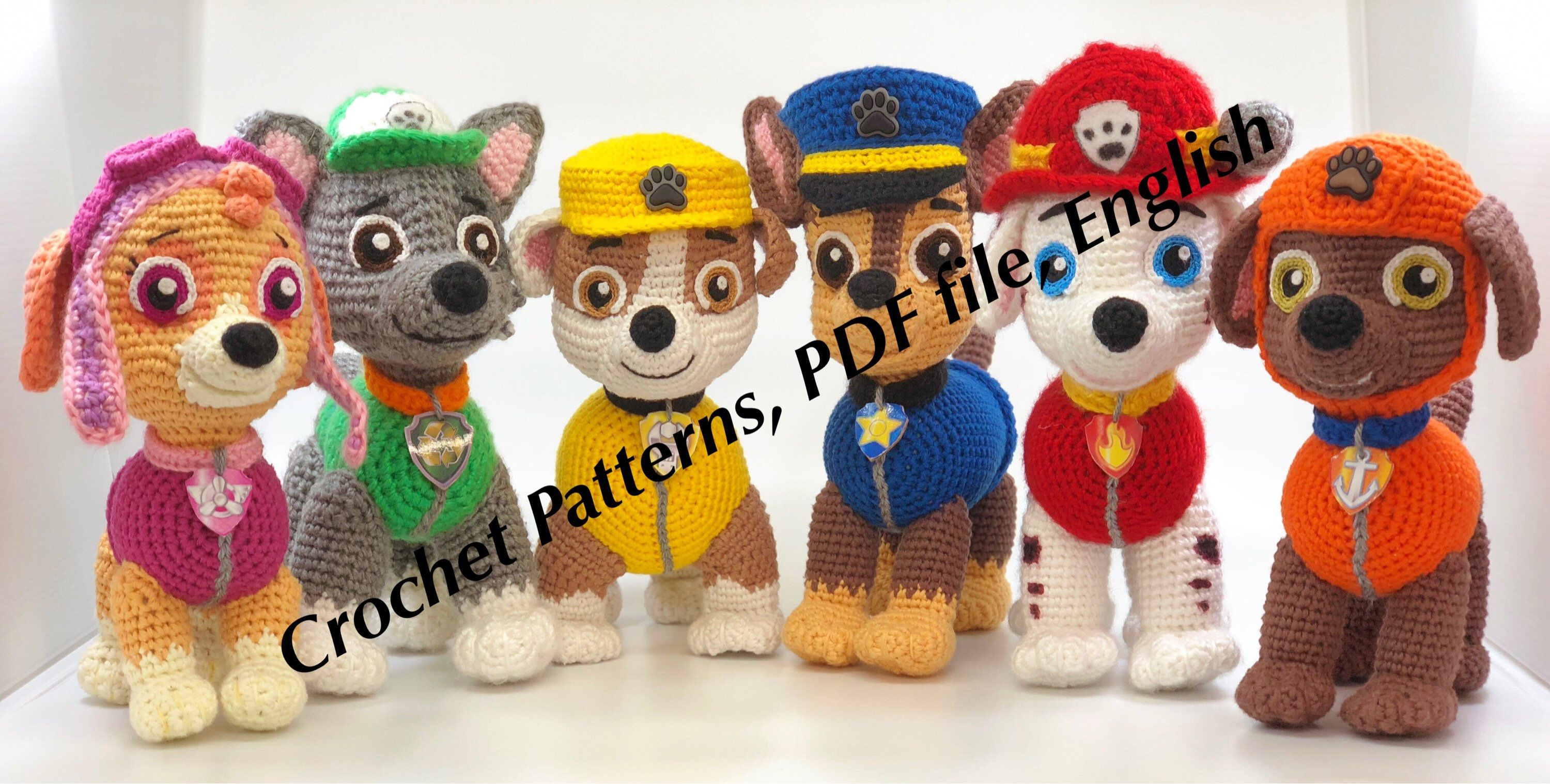 Amigurumisfanclub Kevin : Paw patrol toys and patterns: ryder cap'n turbot and six puppies