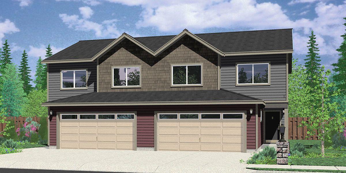 D477 Duplex house plans, 25 ft wide house plans, duplex