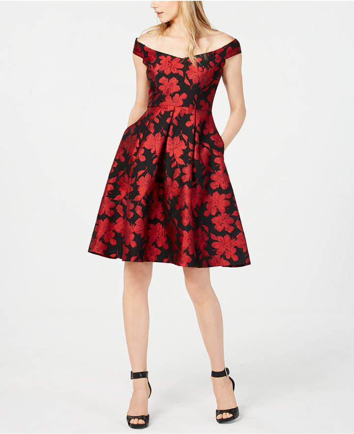 3f05faa494a Calvin Klein Petite Off-The-Shoulder Brocade Fit   Flare Dress