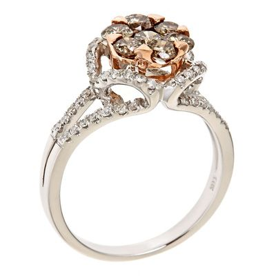 Champagne and White Diamond Cluster Ring in 14K Two-Tone Gold