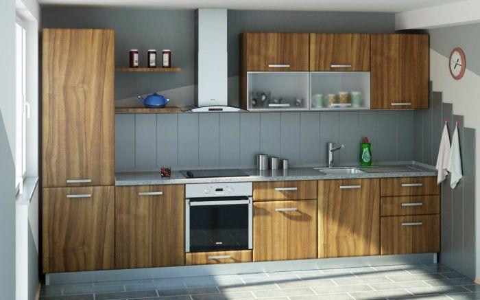 wandpaneele küche holz küchenschränke textur bodenfliesen Küche - küche aus holz