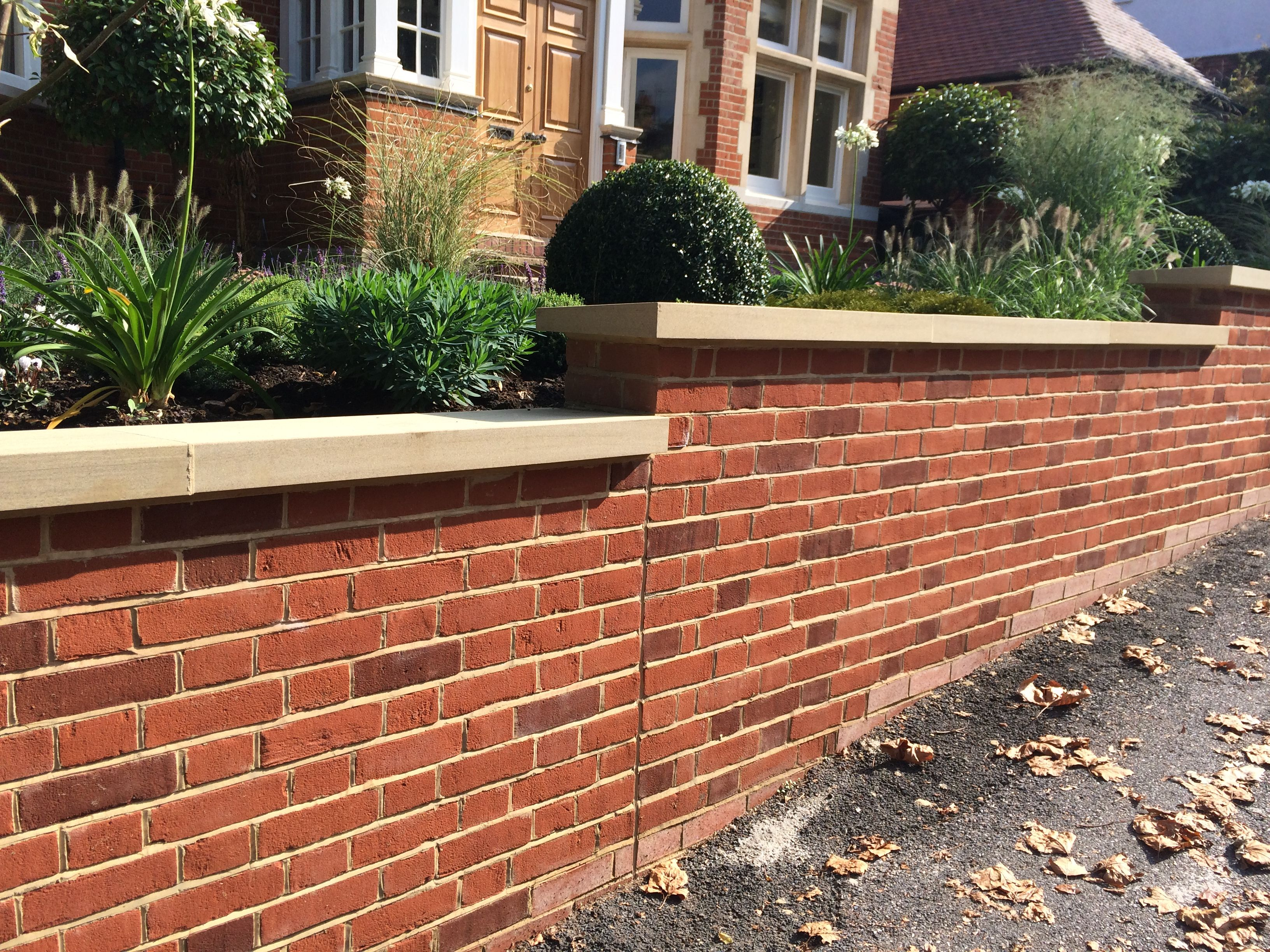 Red Brick Wall Sandstone Copping With Images Brick Garden
