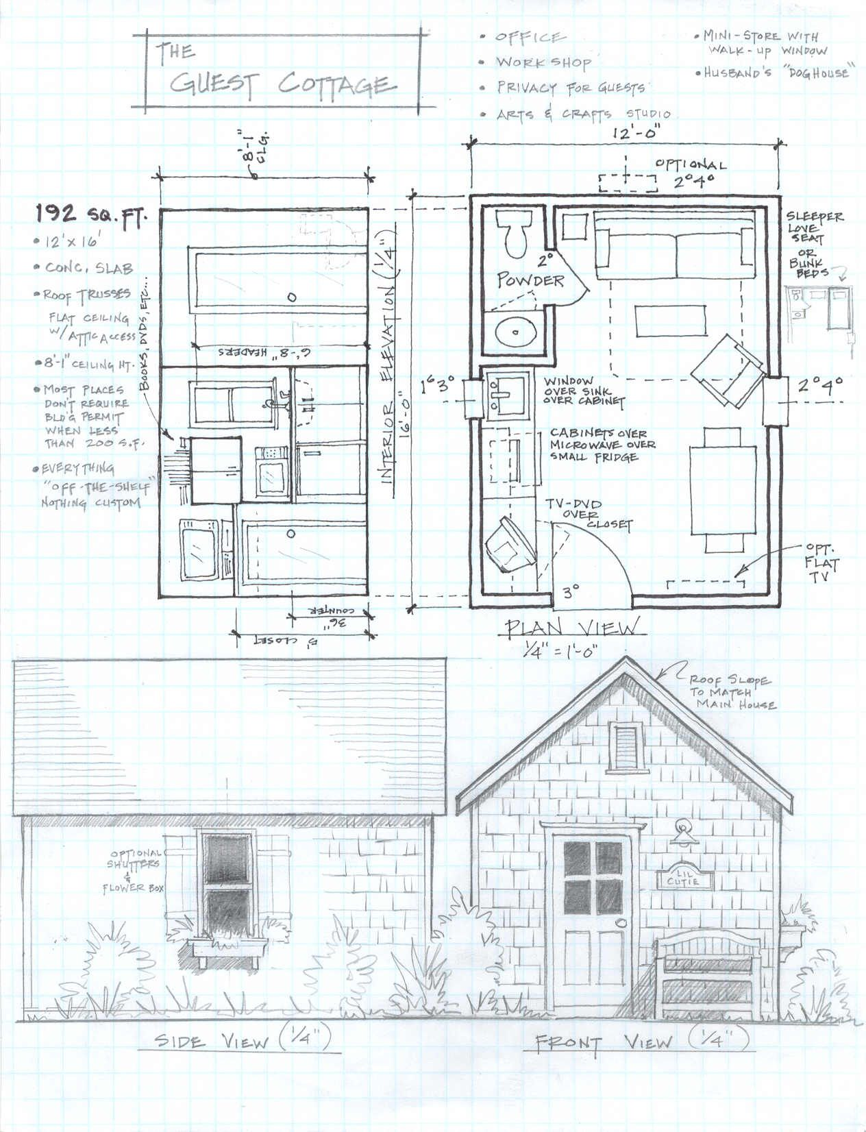 192 Sq Ft Studio Cottage... This Would Have A Really Fun Idea To · Small ... Part 71