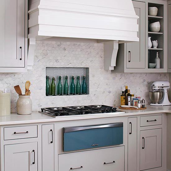 Some Sort Of Marble Tile Could Be Cool. Tile To Create A Backsplash That  Doubles As Storage. In This Kitchen, Dressed In Soothing Gray And Blue, ...