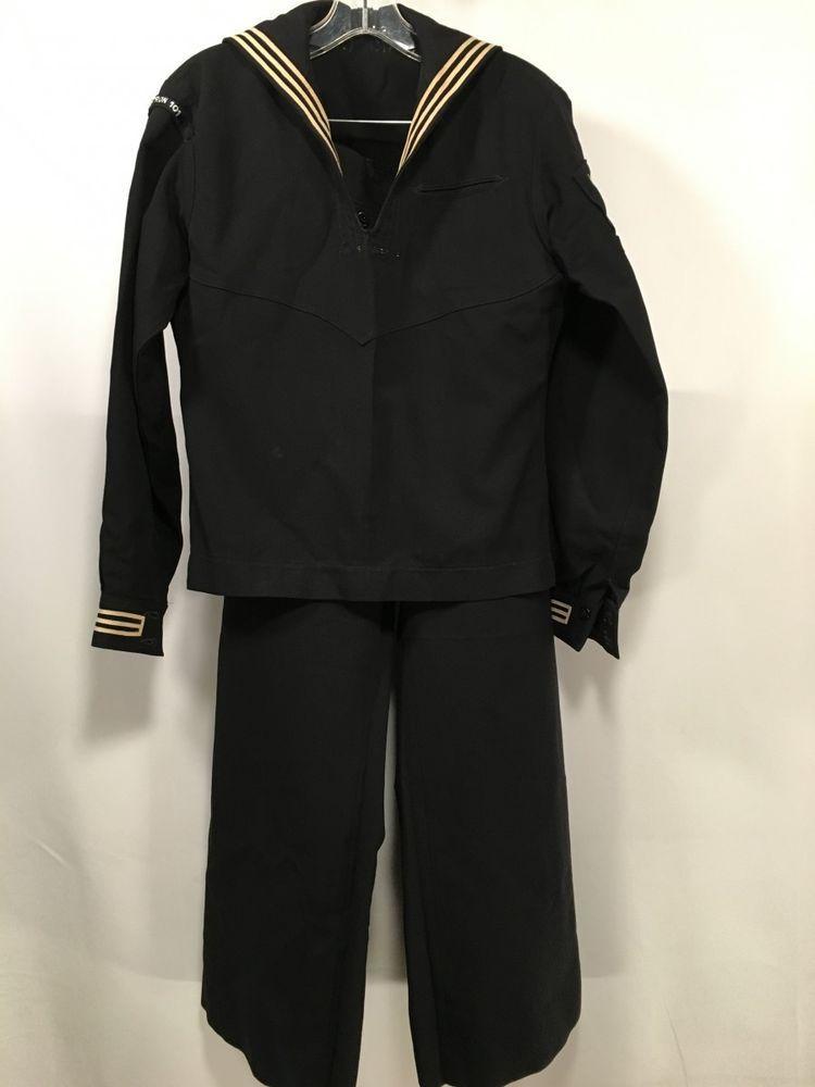 59c89e7fc9fa Vintage US NAVY Uniform Black Pullover Shirt Naval Pants