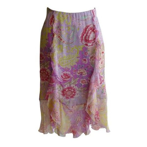Pre-Owned Emanuel Ungaro Silk Floral Ruffle Skirt (295 CAD) ❤ liked on Polyvore featuring skirts, purple, purple floral skirt, flouncy skirt, floral print skirt, frilled skirt and frill skirt