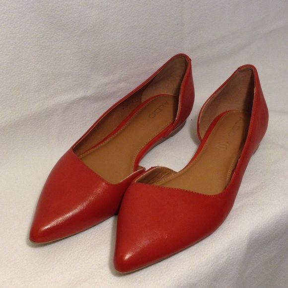 Aldo Dealia Flats Brand new Red Aldo flats in a size US 8. Only worn in the house, stickers are still attached. Red, man made material with a gold detail in the heel. * Non smoking home* No box ALDO Shoes Flats & Loafers