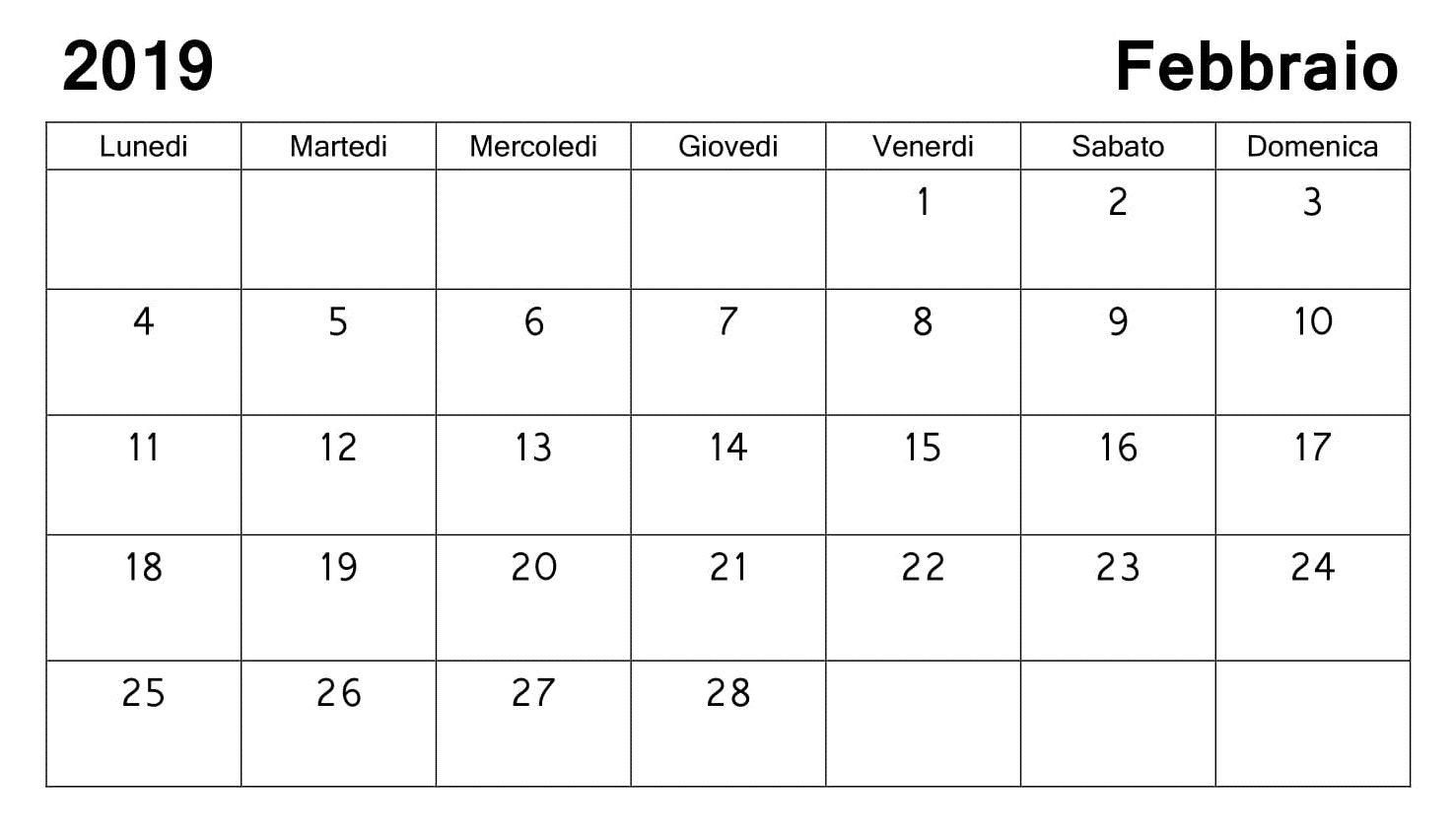 Calendario F2.Febbraio 2019 Calendario 2019 Febbraio Calendario 2019
