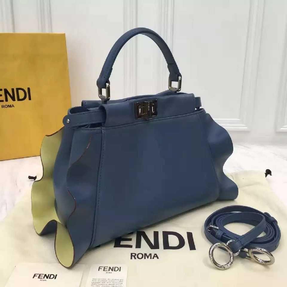 Authentic Quality 1 1 Mirror Replica Fendi Mini Peekaboo Bag in Blue Yellow  Nappa Leather With Ruffles 66a8eb74c5