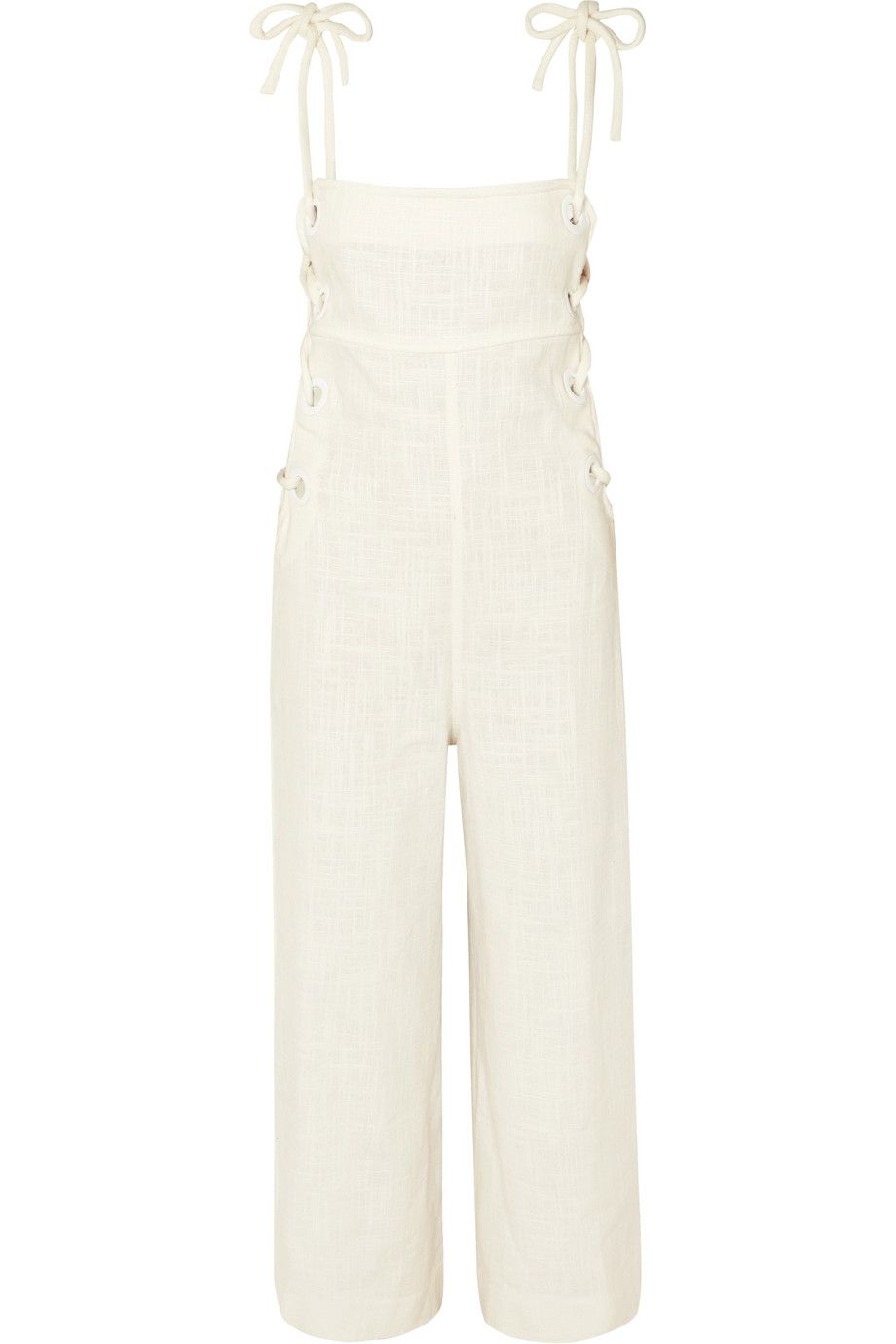 988cd6170e Staud Ivory linen-blend Concealed zip at back and ties at shoulders ...