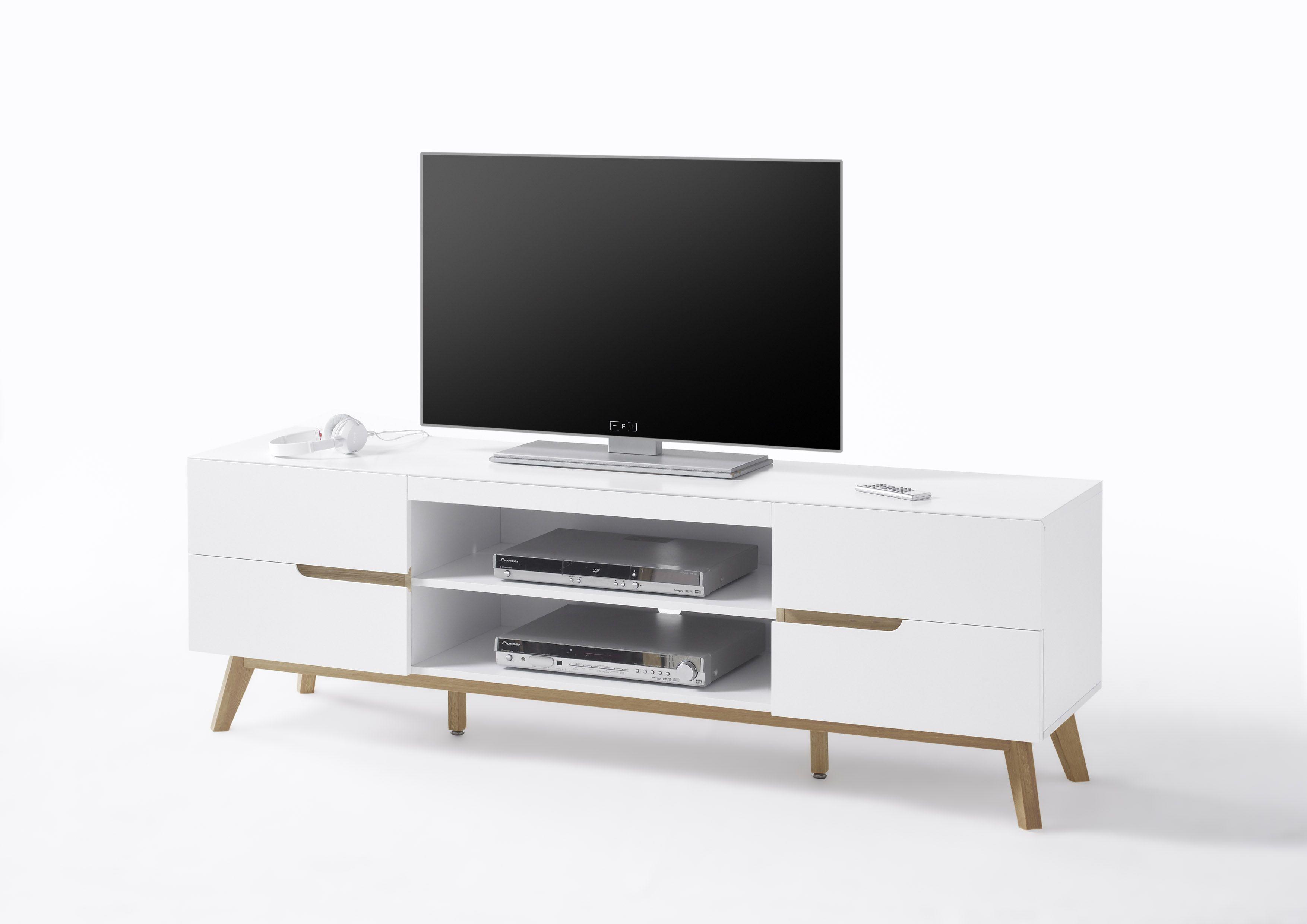Tv Lowboard Weiss Matt/ Eiche Woody 41 02624 Holz Modern Jetzt Bestellen  Unter