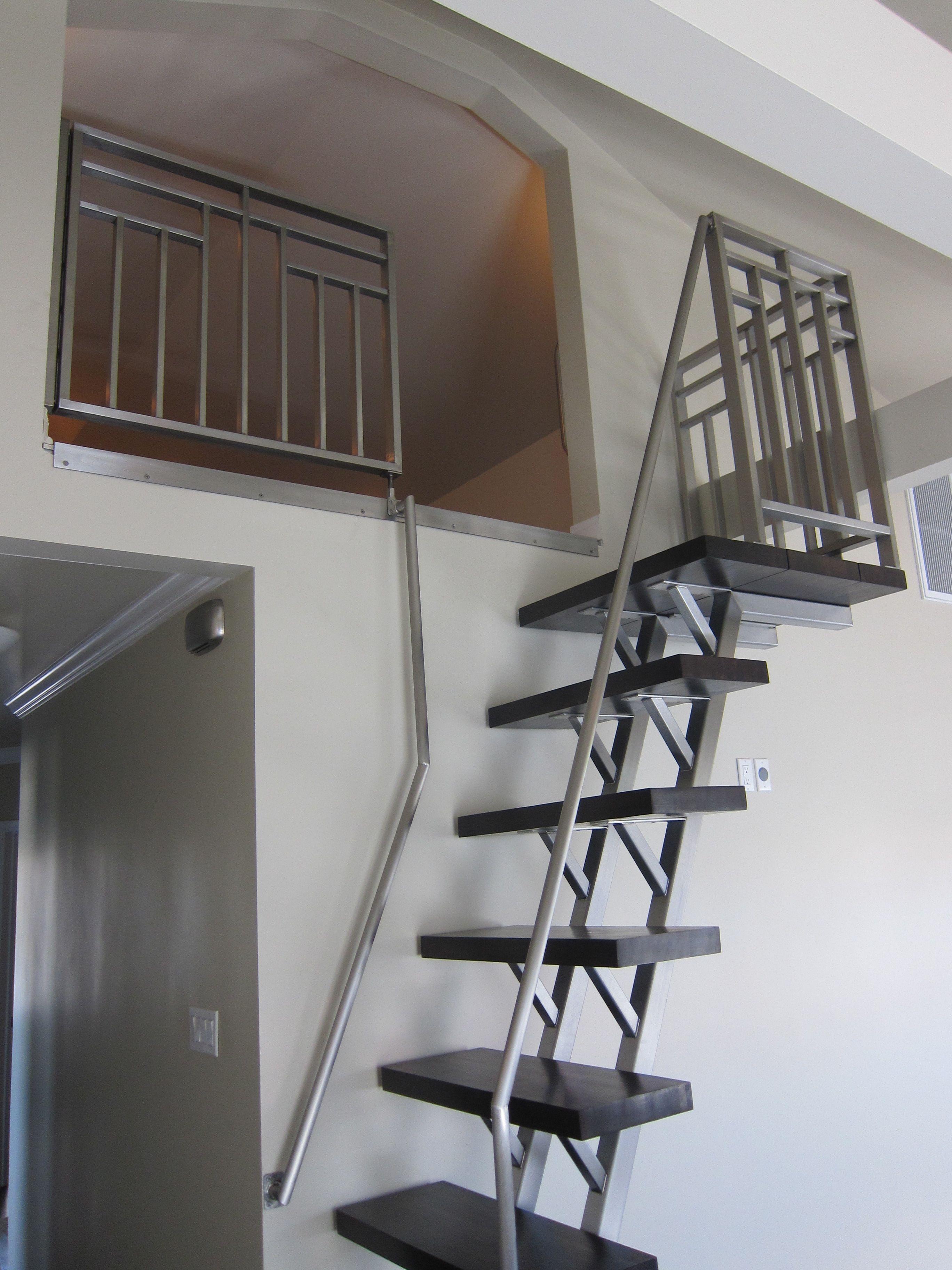 Warren Casey Design Co Loft Ladder Attic Bathroom Small Attic | Modern House Ladder Design | Inside Outside | Metal Balustrade | Loft | Outdoor Balcony | Beautiful