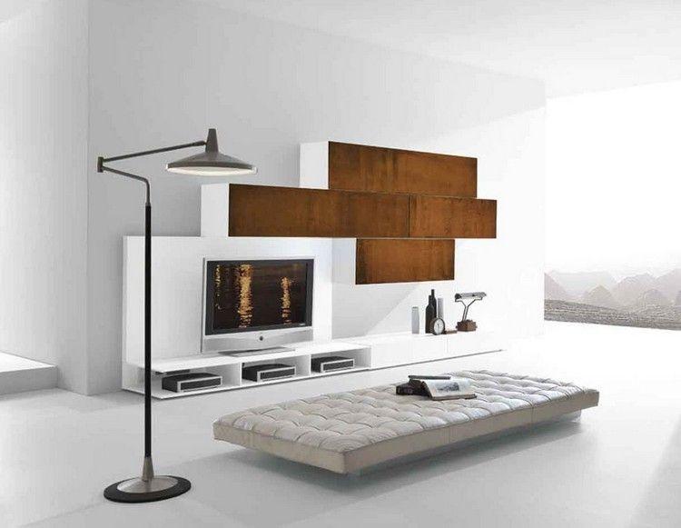 Meuble tv blanc minimaliste aux accents acier corten