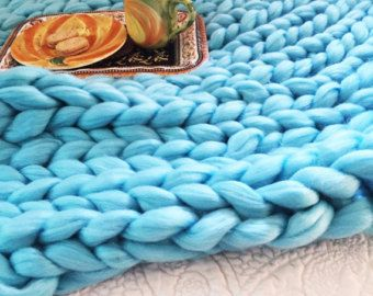 grosse couverture en tricot super chunky tricot couverture couverture de laine couverture de. Black Bedroom Furniture Sets. Home Design Ideas