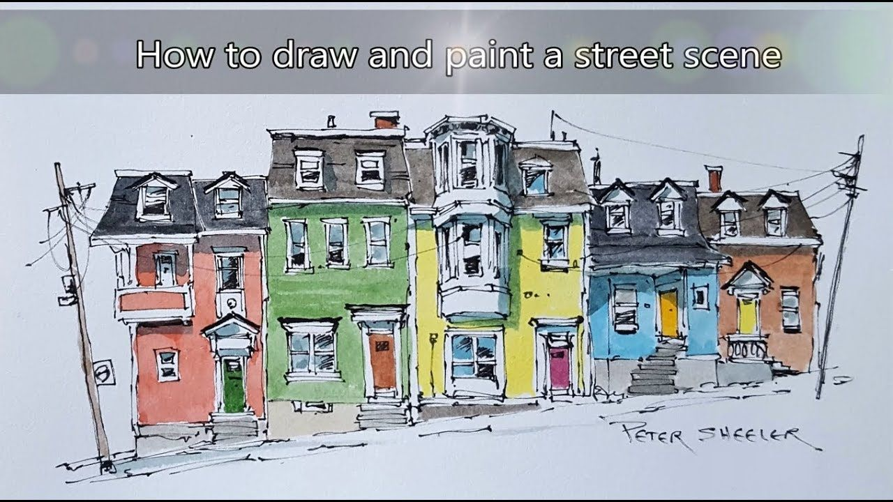 New Line And Wash Watercolor Tutorial Colorful Row Houses In St
