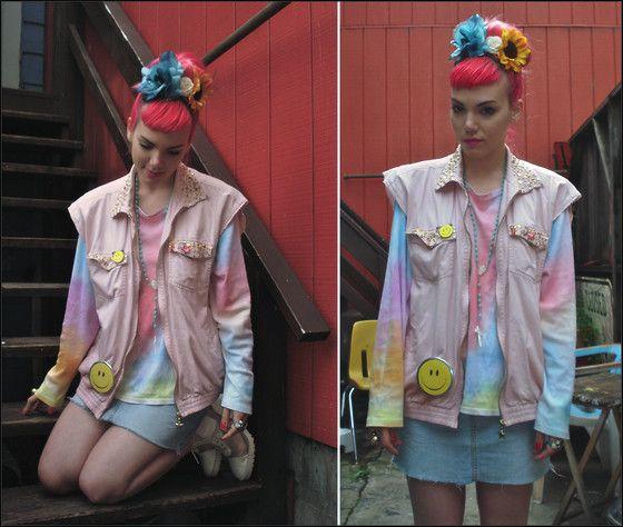 Flowers, No Parking Invisible Shoes, Tie Dye Shirt, Pink Gold Studded Vest, Dolce & Gabbana Denim Skirt