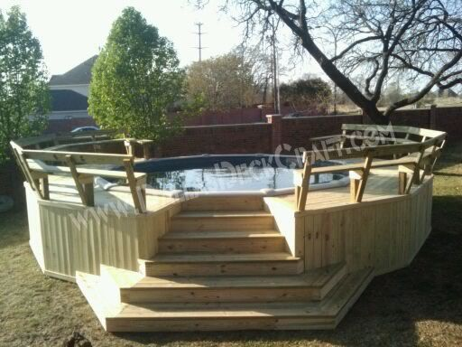 Deck pool treated above ground wrap around above ground for Pool builder quotes