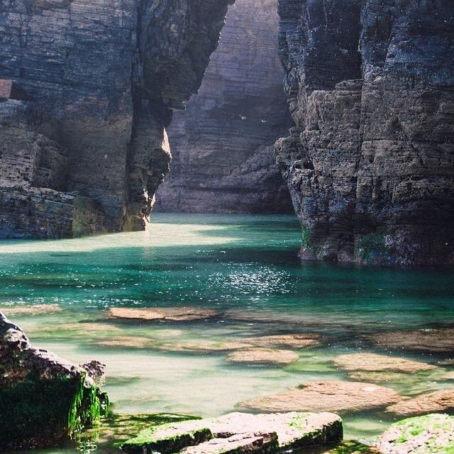"""""""Longing for black rock and crystal oceans. Cathedrals Beach, Galicia, Spain  #GLLWander"""" Photo taken by @grace_loves_lace on Instagram, pinned via the InstaPin iOS App! http://www.instapinapp.com (06/30/2015)"""