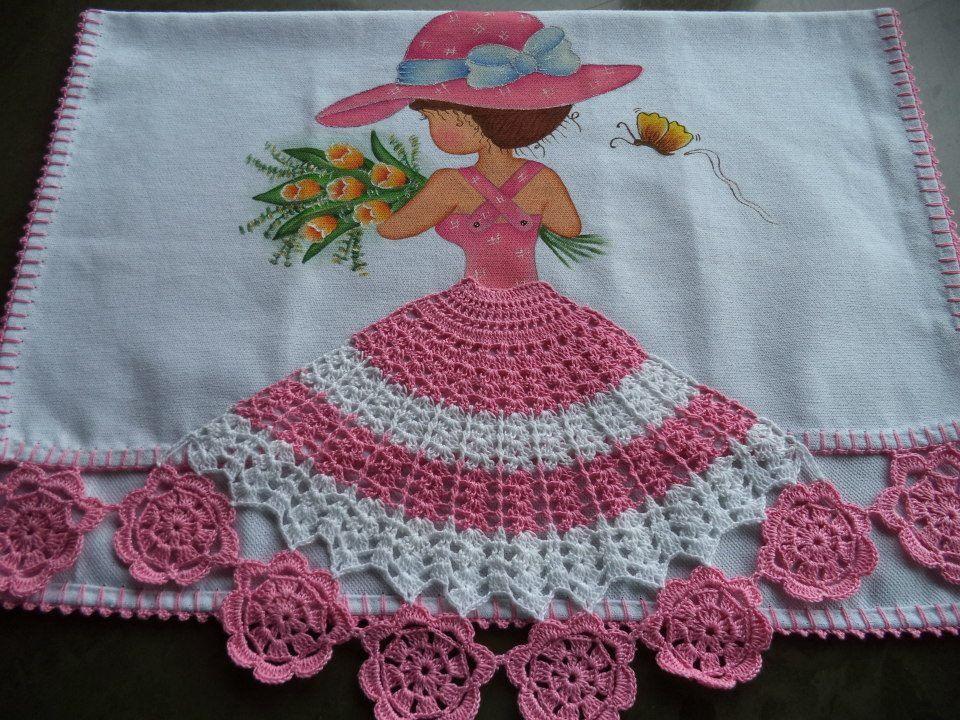 Muitas vezes Pano de prato com boneca de vestido rosa | Pano de prato pintado  EY94