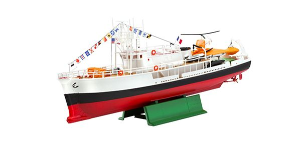 A 1:125th scale model, to be built and painted, of the research vessel Calypso, a former British Royal Navy Minesweeper that Jacques Coustea...
