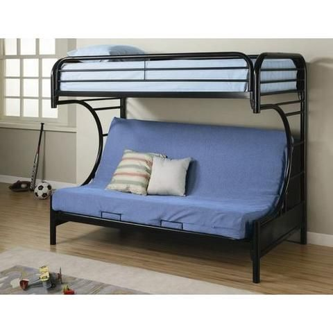 Black Metal Twin Over Full Futon Bunk Bed With Built In Ladder Bedroom Bed Frames Bunk Beds Loluxe Couch Bunk Beds Metal Bunk Beds Bunk Beds