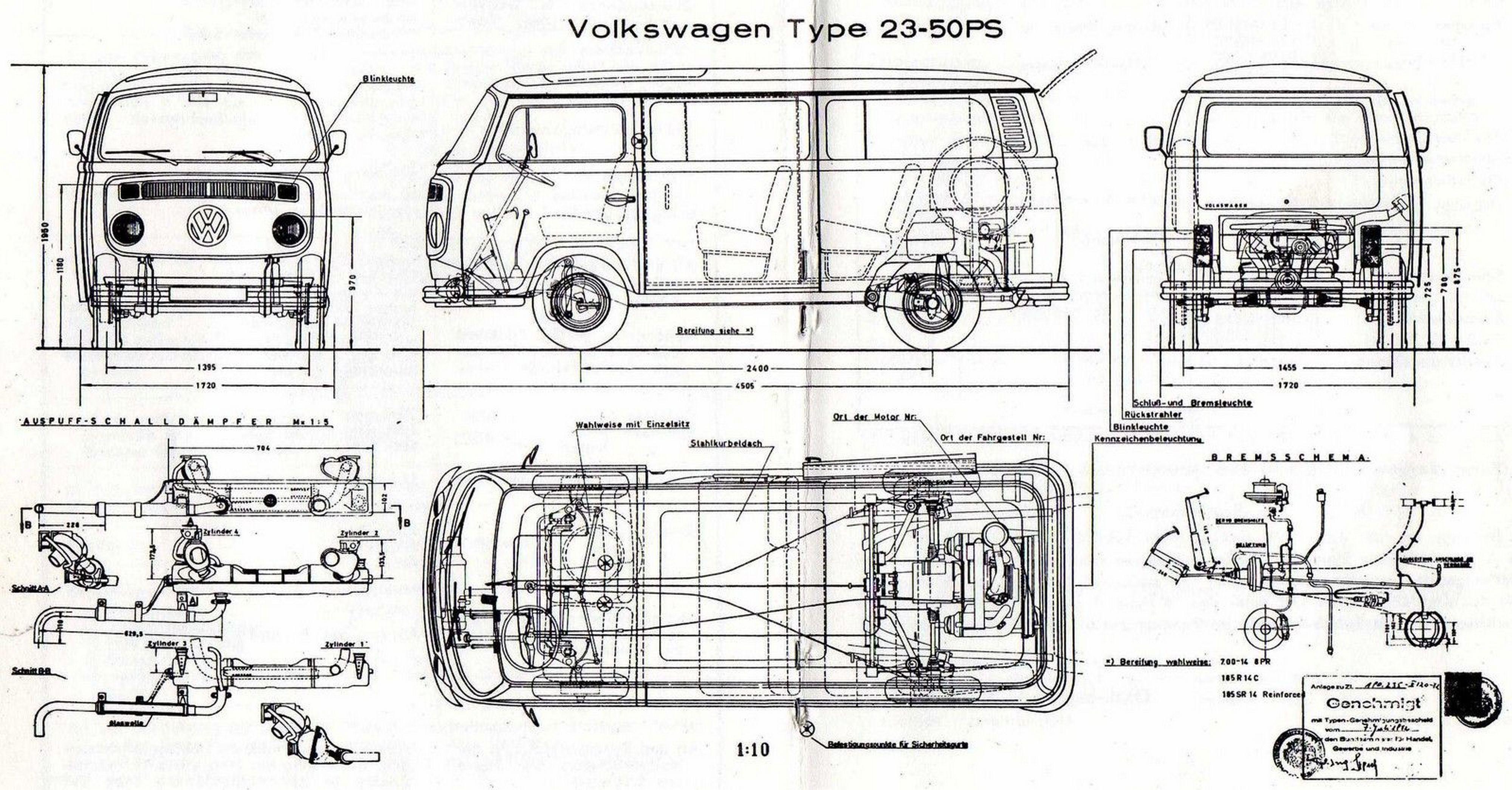 vw t2 bus type 23 1974 smcars net car blueprints. Black Bedroom Furniture Sets. Home Design Ideas