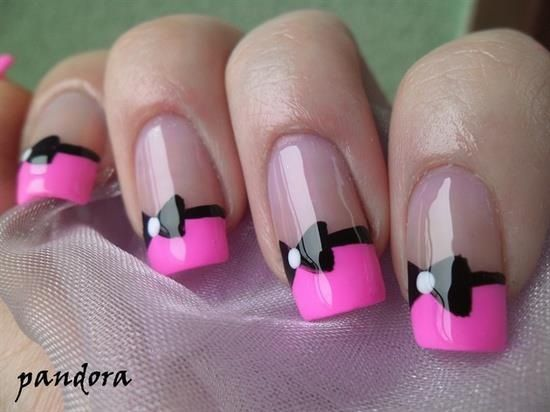 Pink French with black bow