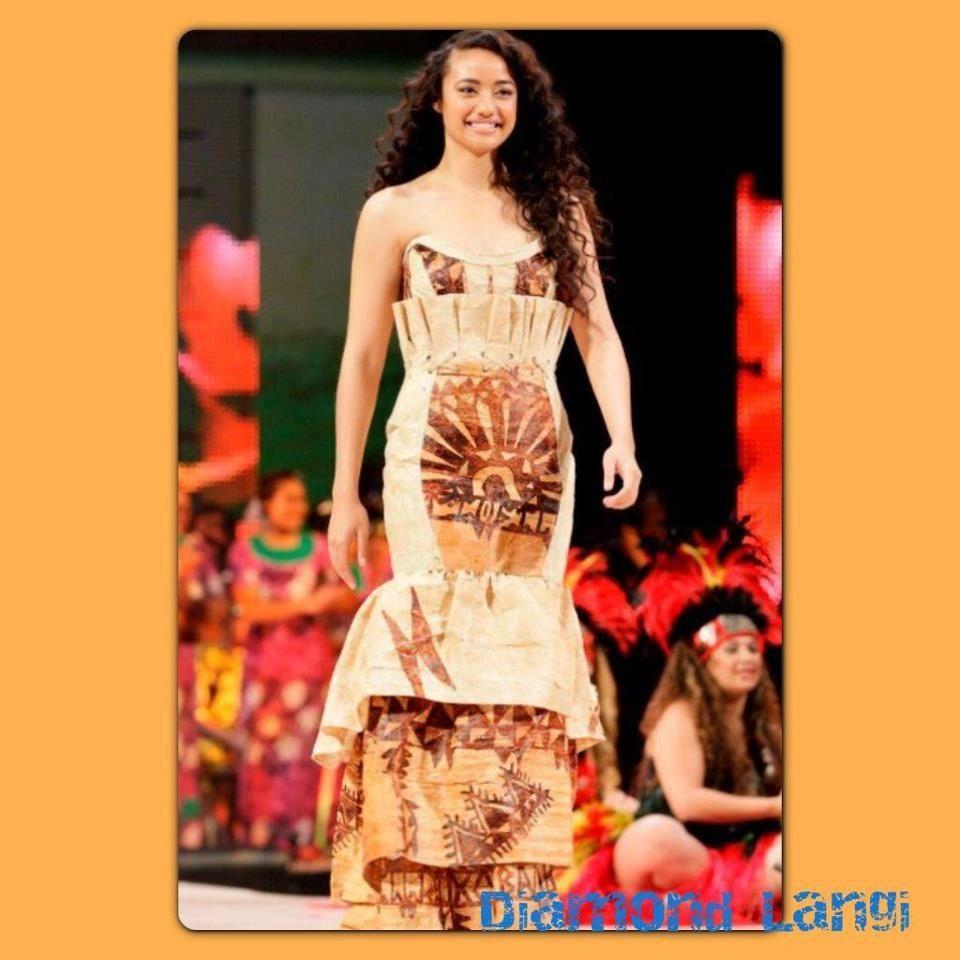 Beautiful Diamond Langi in a Beautiful Ngatu Dress