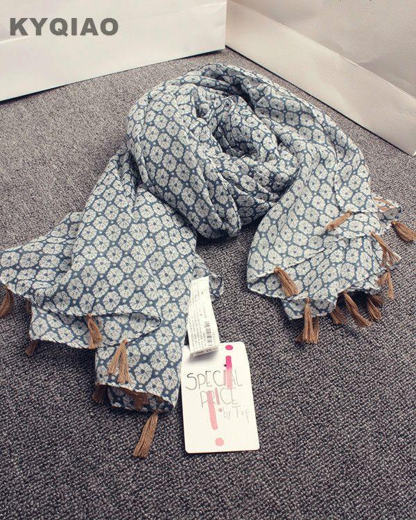 KYQIAO Marque écharpe 2017 femmes automne hiver élégant long motif  géométrique écharpe Japonais style designer floral e2a972f4e94