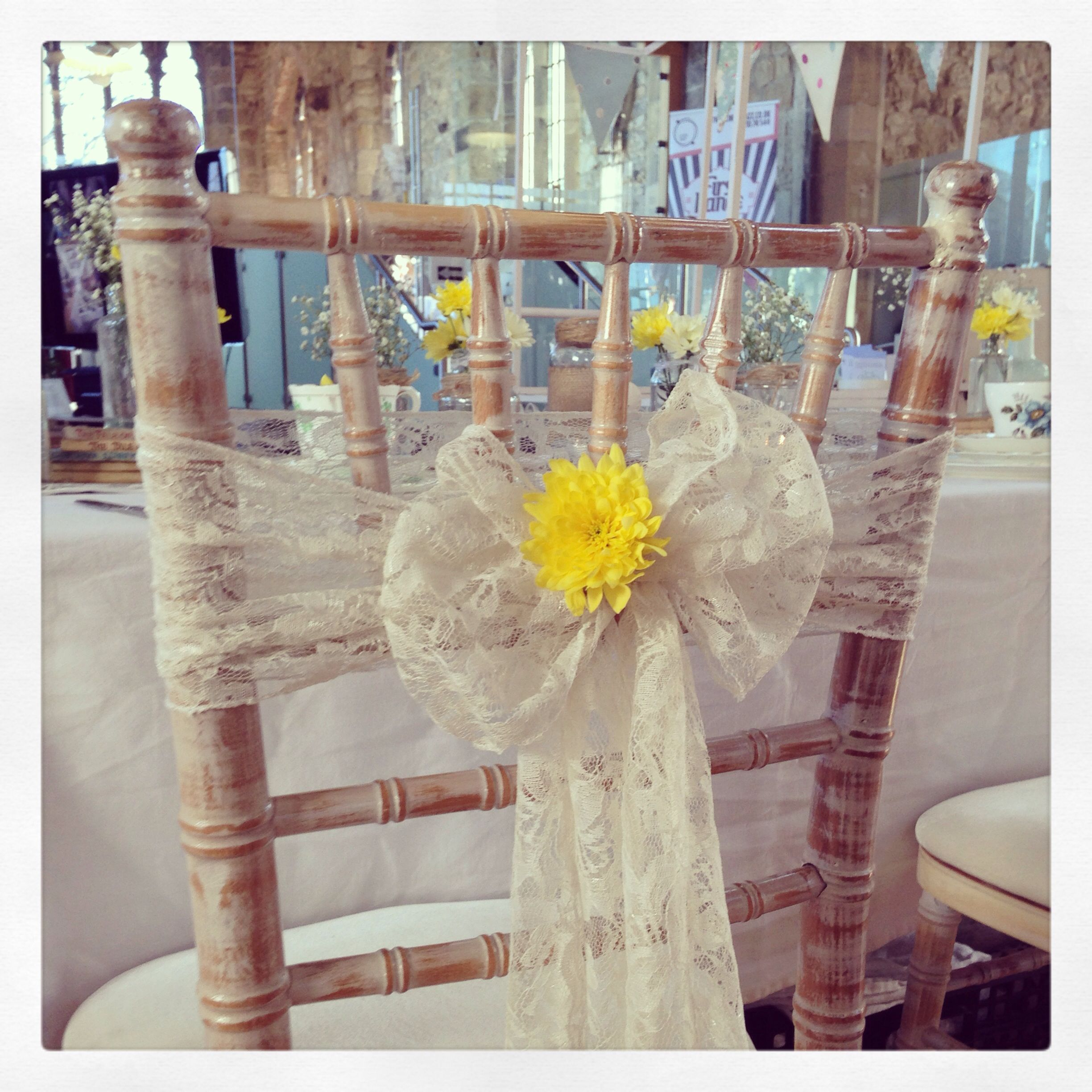 Lace chair sashes - available for hire