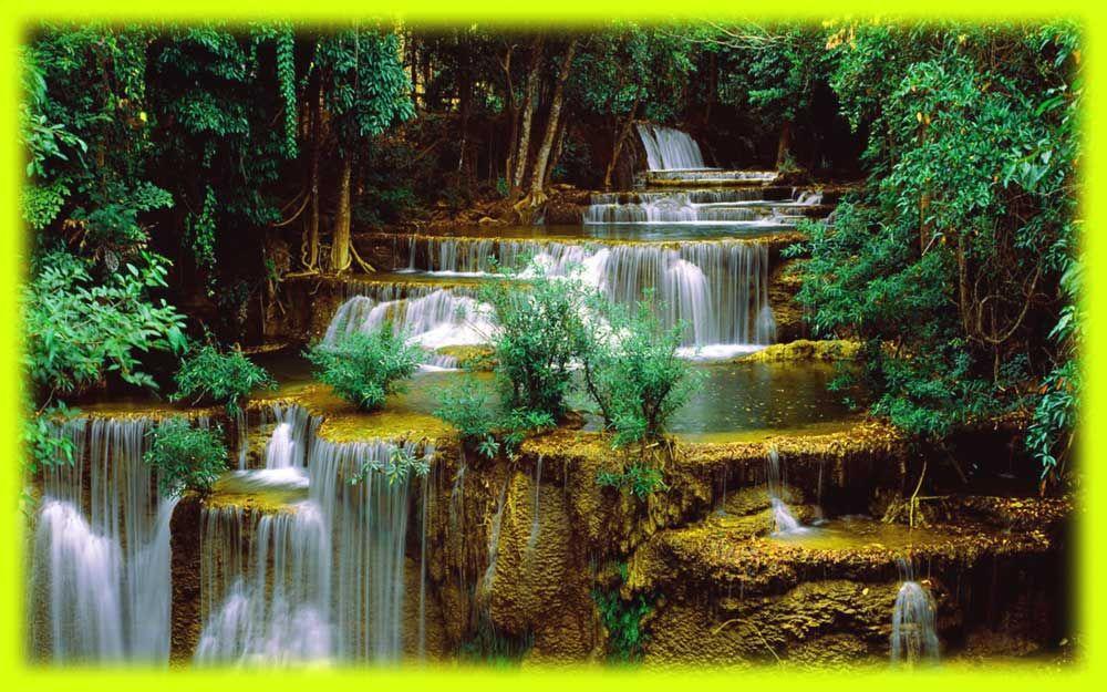 Gambar Pemandangan Air Terjun Bertingkat  Waterfall wallpaper