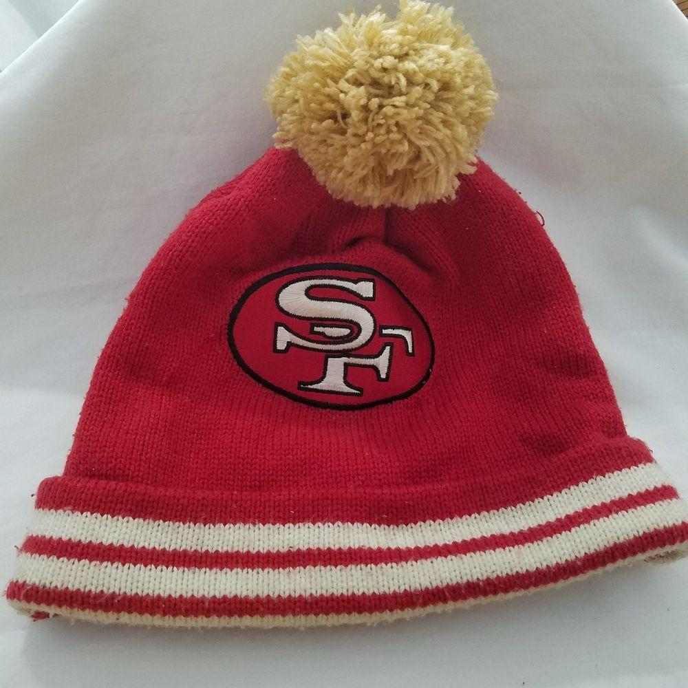 San Francisco 49ers Mitchell Ness NFL Stripe Cuff Mens Beanie Knit Pom Cap  Hat  MitchellNess  Beanie 2a4c876c9