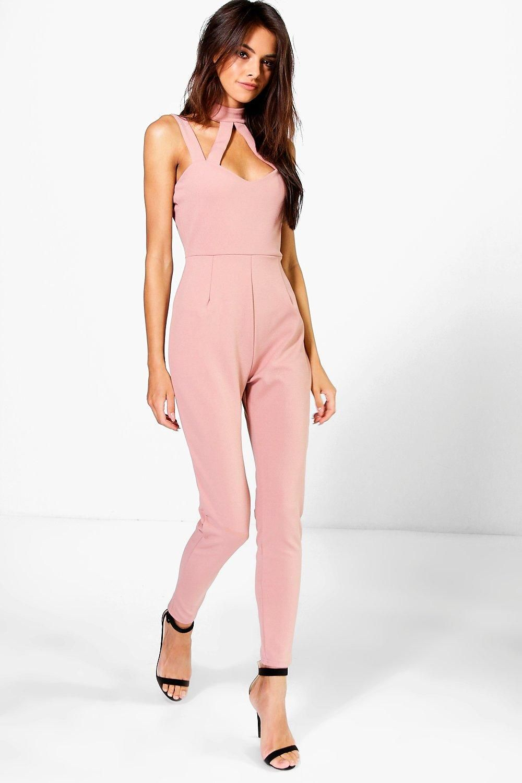 Lara Choker Style Skinny Leg Jumpsuit   party outfits   Pinterest